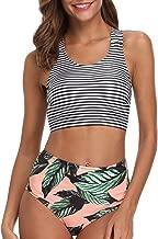 BeachQueen Women Bikini Swimsuit High Waisted Stripe Printed Two Piece Swimwear