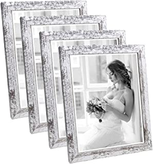 Q.Hou 8x10 Picture Frame Wood Patten Distressed White Photo Frames Packs 4 with High Difinition Glass for Tabletop or Wall...