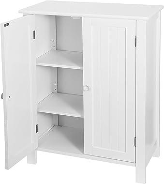 SUPER DEAL Modern Bathroom Floor Storage Cabinet with Adjustable Shelf and Double DoorRust Proof, Living Room Modern Home Fu