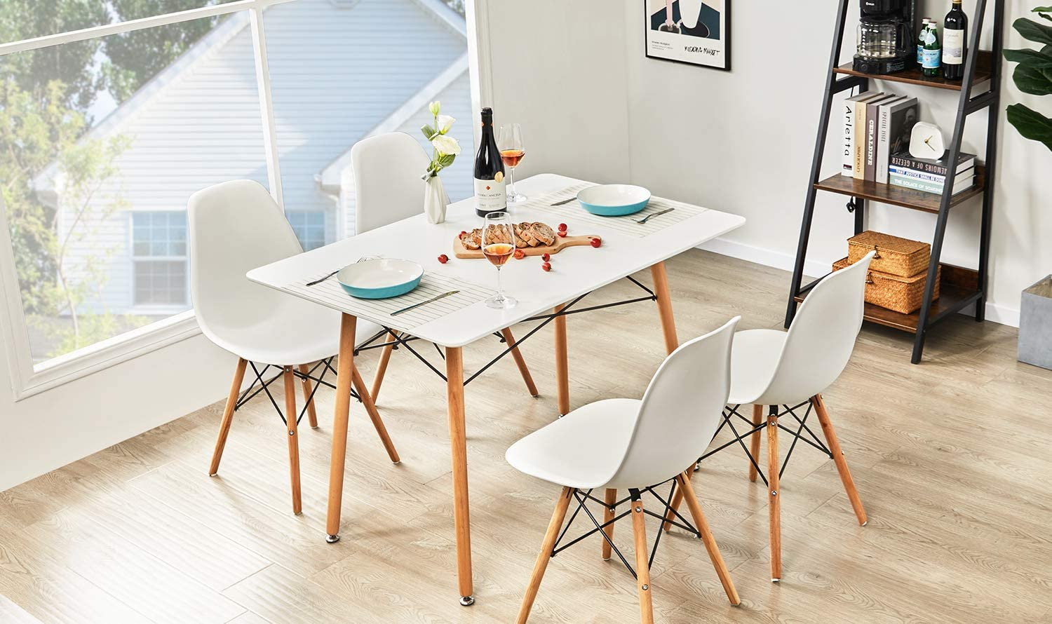 GreenForest Dining Table Wood Top and Legs Modern Leisure Coffee Table Home  and Kitchen 9