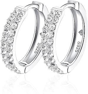 CZ Hoop Earrings Sterling Silver 925 Pave Hoop Earrings for Women Ear Huggers Loop 18mm Antiallergic