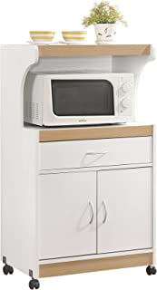 Hodedah Microwave Kitchen Cart, White