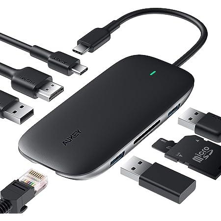 AUKEY Hub USB C 8 in 1 USB Tipo C Adattatore Porta 4K HDMI, Porta 1Gbps Ethernet RJ45, Porta di Ricarica PD da 100W, 2 Porte USB 3.0 1 USB 2.0, Lettori SD e TF per MacBook PRO Air dell XPS Chromebook
