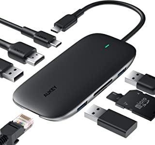 USB C Hub AUKEY 8 in 1 Type C Hub with Ethernet Port, 4K USB C to HDMI, 3 USB 3.0 Ports, 100W USB C Power Delivery Chargin...