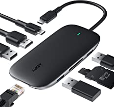 USB C Hub AUKEY 8-in-1 Type C Adapter with Ethernet Port, 4K USB C to HDMI, 2 USB 3.0 and 1 USB 2.0, 100W USB C Power Delivery Charging, SD/TF Card for MacBook Pro/Air(Thunderbolt 3), Chromebook Pixel