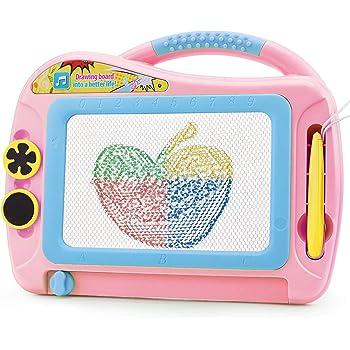 Magnetische Maltafel Zaubertafeln mit Rückwand, Magnettafel Zaubermaltafel Zeichentafel Reisegröße-Bunt Löschbar Zeichenbrett Lernspielzeug für Kinder Geschenk 3 4 5 Jahre alt, Pink