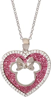 """Disney Jewelry for Women and Girls, Silver Plated Mickey or Minnie Mouse Glitter Heart Head Necklace, 18"""" Chain"""