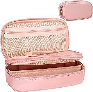 کیف آرایشی کوچک کیسه آرایشی و بهداشتی مخصوص خانمها کیف های آرایشی دخترانه کیف قابل حمل 2 لایه با لوازم آرایشی برس کریسمس (صورتی)
