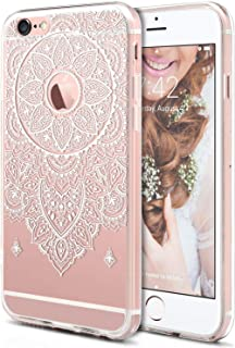 iPhone 6S Case, iPhone 6 Phone Cover,ROOEL [Oriental White Henna Mandala Ornament Printed Design Pattern] Slim Thin Women Girls Teens Protective Cover Clear TPU and Hard Transparent Plastic Back