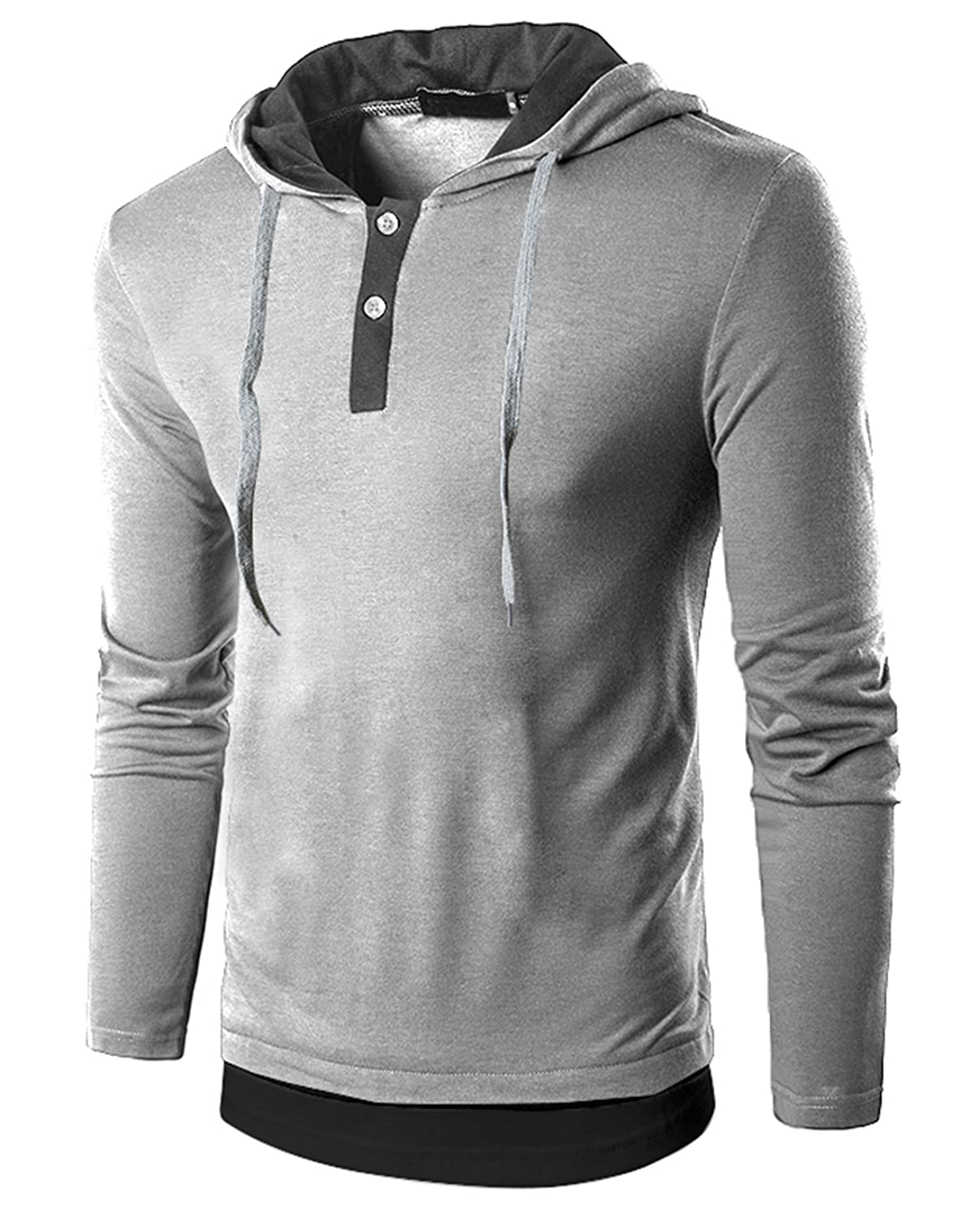 SIR7 Men's Casual Long Sleeve Hoodie T Shirt Lightweight Hipster Hip Hop Hooded Shirt