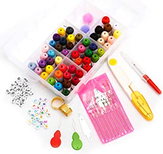 Looen 50 Colors Embroidery Floss Spool with Organizer Storage Box Friendship Bracelet Floss - Craft Thread Weaving String Accessories Included