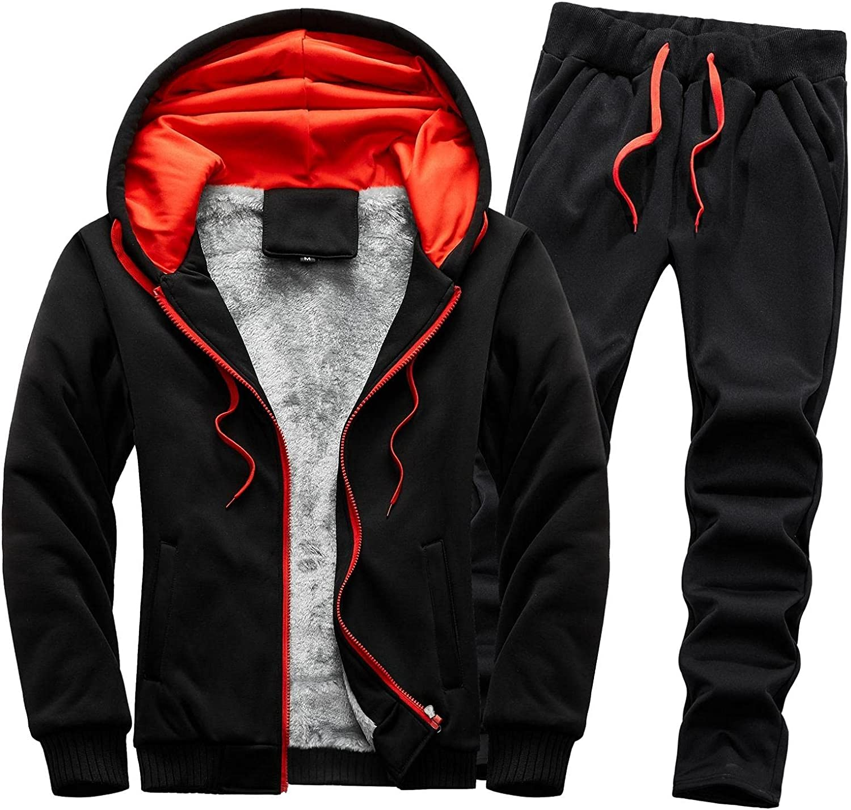 LEIYAN Mens Tracksuits Sets Zip Up Long Sleeve Sherpa Lined Hooded Jacket Fleece Sweatpants Joggers Winter Warm Suits