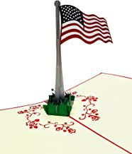 iGifts And Cards American Flag 3D Pop Up Greeting Card - America, Stars, Stripes, Red, White, Blue, Veterans - Folds Flat - Independence Day, Just Because, Special Days, Memorial Day