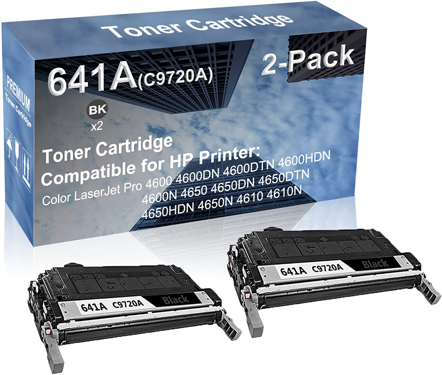 2-Pack (Black) Compatible High Yield 641A (C9720A) Laser Printer Toner Cartridge use for HP 4650HDN 4650N 4610 4610N Printer