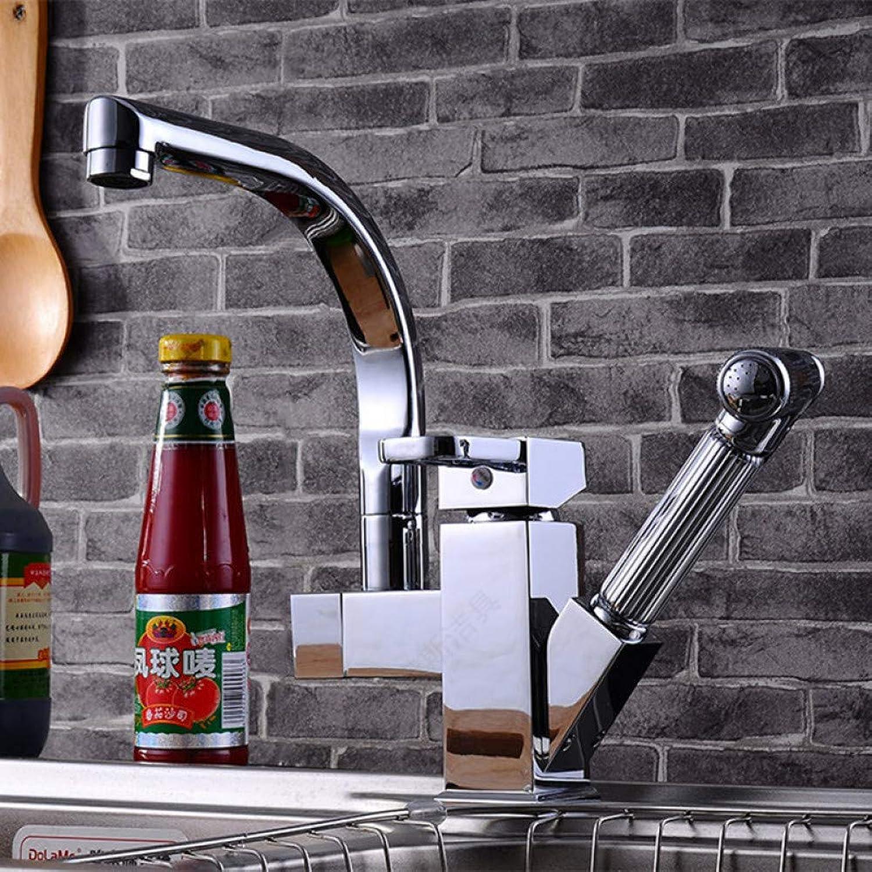 VIOYO Wasserhahn Wasserhahn ausziehbare Spüle Wasserhahn mit Einloch-Küchenmischbatterie aus massivem Messing Waschbecken Wasserhahn