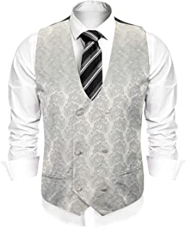 Men's Slim Fit Sleeveless Suit Vest Double Breasted Business Dress Waistcoat