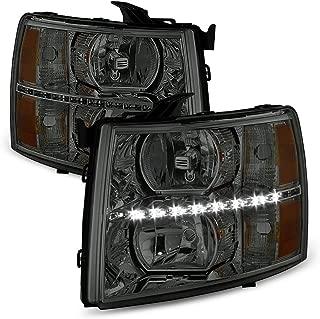 ACANII - For Smoked Lens 2007-2013 Chevy Silverado 1500 2500HD 3500HD LED Headlights Headlamps Driver + Passenger Side