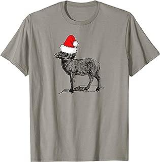 Mountain Goat Wearing a Santa Clause Christmas Hat T-Shirt