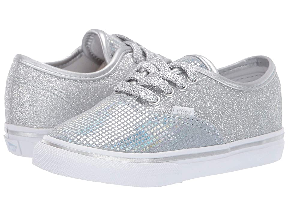 Vans Kids Authentic Glitter (Infant/Toddler) ((Metallic Glitter) Silver) Girls Shoes