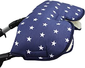 BAMBINIWELT universaler Muff/Handwärmer für Kinderwagen, Buggy, Jogger mit Wolle, Baumwolle marine weiße Sterne XX