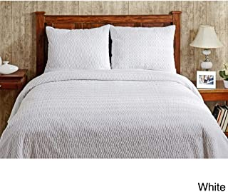 1 Piece Oversized Queen Bedspread Chenille White, Lightweight Cotton Material, Tufted Summer Beautiful Appeal, Tight Weave, Soft Textural Channel Stripe Design, 102 Inches X 110 Inches