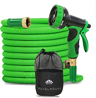 ROYALHOUSE 50FT Green Expandable Garden Hose Water Hose with 9-Function High-Pressure Spray Nozzle, Heavy Duty Flexible Ho...
