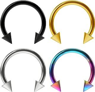 4pc 16g Horseshoe Earrings Circular Barbells Ring Hoop Tragus Helix Eyebrow Septum Piercing Jewelry