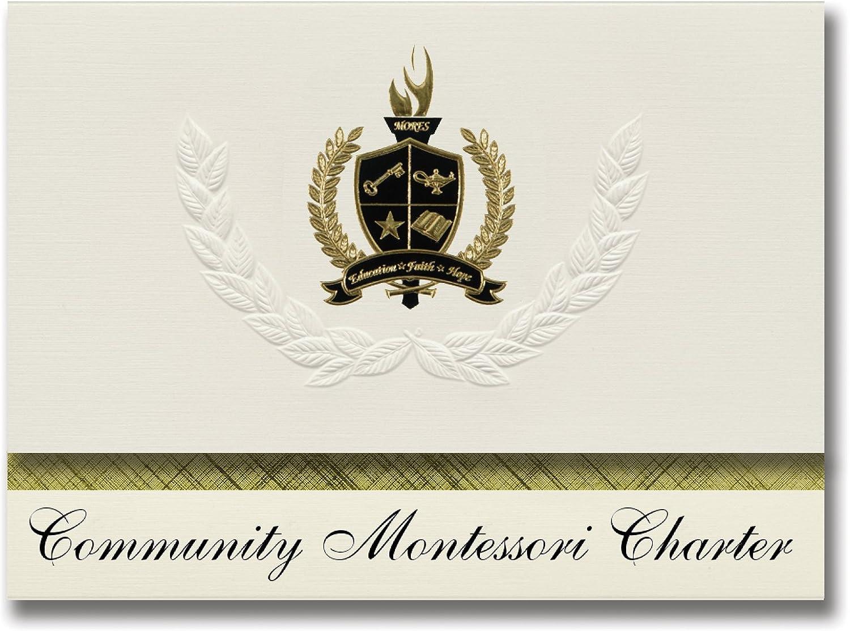 Signature Ankündigungen Gemeinschaft Montessori Charta (Escondido, CA) Graduation Ankündigungen, Presidential Stil, Elite Paket 25 Stück mit Gold & Schwarz Metallic Folie Dichtung B078TSW1L9  | Stabile Qualität