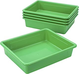 Storex 62520U05C Storage Tray, Letter Size, 5-Pack, 10 x 13 x 3 Inches, Green