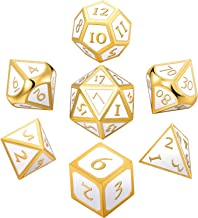 Hestya 7 Pieces Metal Dices Set DND Game Polyhedral Solid Metal D&D Dice Set with Storage Bag and Zinc Alloy with Enamel for Role Playing Game Dungeons and Dragons (White)