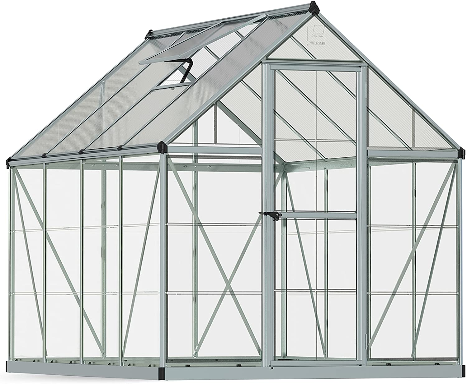 Palram HG5508 Cheap mail order shopping Hybrid Hobby Greenhouse 7' 8' 6' Low price x Silver