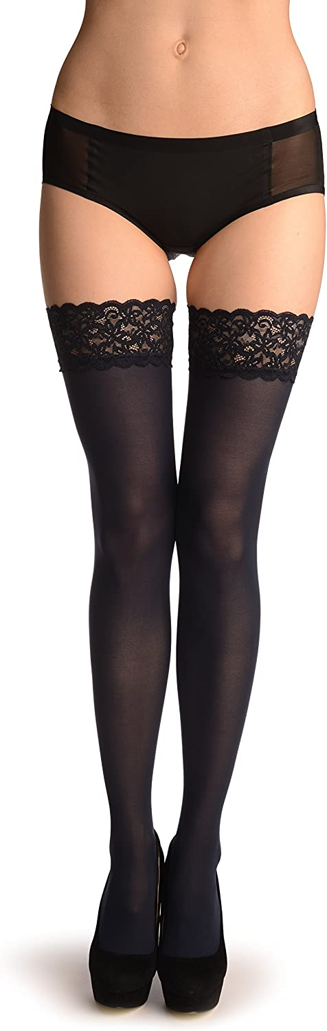 Dark Blue Luxurious Hold Ups With Floral Silicon Lace 60 Den Stay - Up (Stockings)