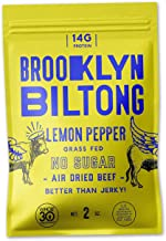product image for Brooklyn Biltong - Air Dried Grass Fed Beef Snack, South African Beef Jerky - Whole30 Approved, Paleo, Keto, Gluten Free, Sugar Free, Made in USA - 2 oz (Lemon Pepper)