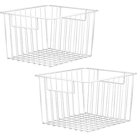 Lot de 2 paniers de rangement en treillis | Bacs pour organiseur de fil | Tablettes métalliques polyvalentes | Rangement chambre, cuisine ou salle de bain | M & W
