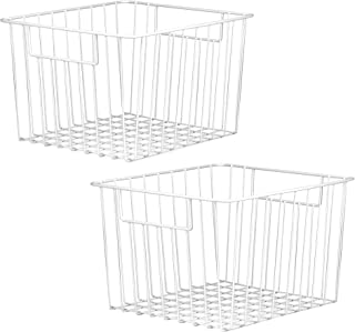 Lot de 2 paniers de rangement en treillis | Bacs pour organiseur de fil | Tablettes métalliques polyvalentes | Rangement c...