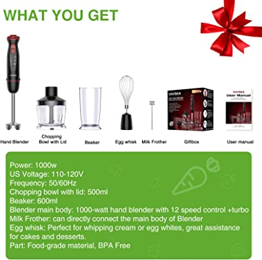VAVSEA 1000W 5-in-1 Multi-function Immersion Hand Blender, 12-Speed Stick Blender with 500ml Chopping Bowl, Milk Frother, Egg