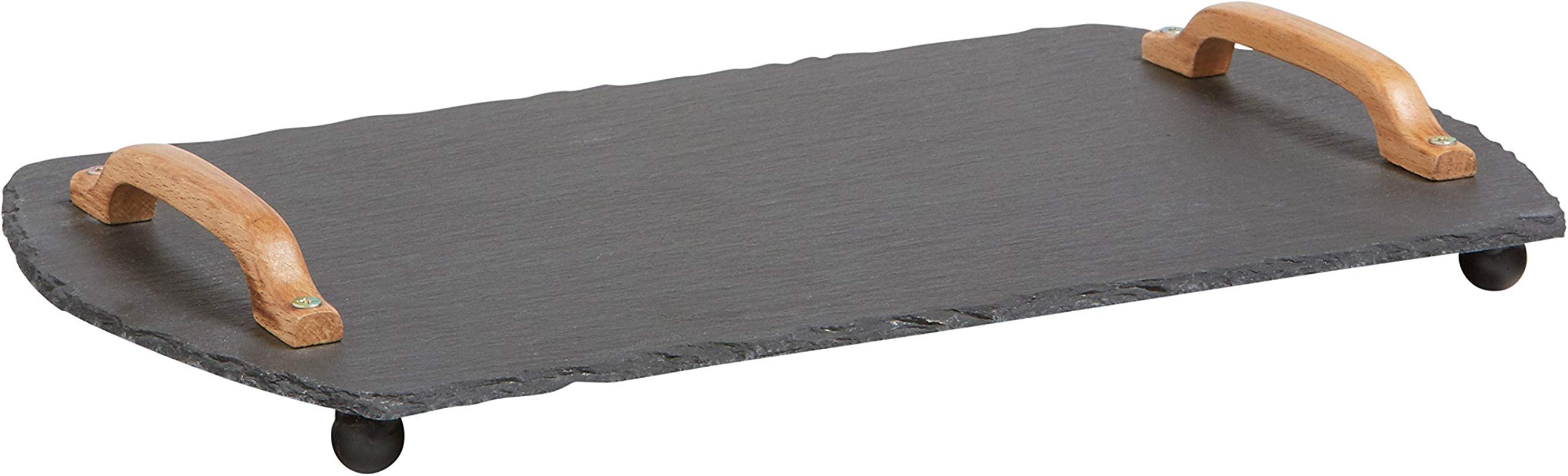 Rivet Modern Stone And Birch Natural Edge Serving Decor Tray 15 5 X 9 X 2 5 Inch Black And Wood