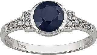 10k White Gold Vintage Style Genuine Round Sapphire and Diamond Ring