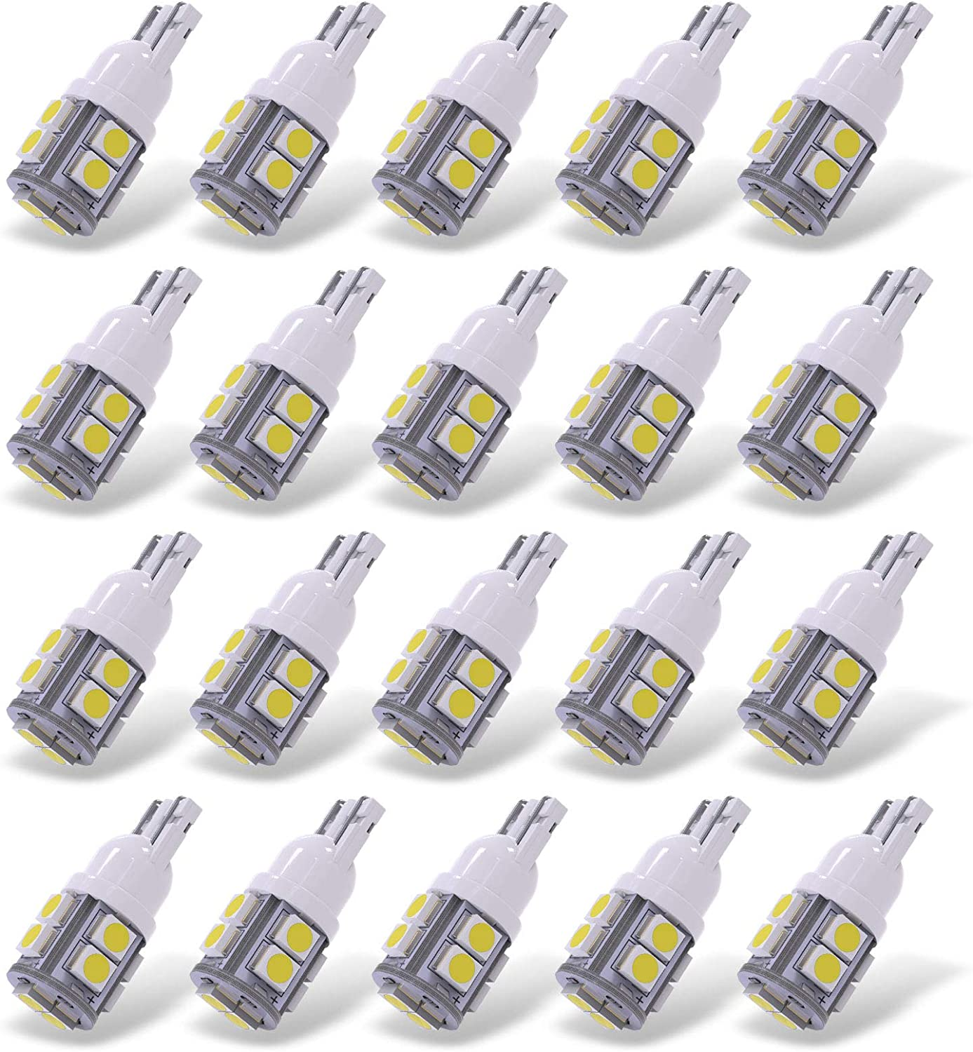2X USA WHITE LED SMD T10 194 168 921 2825 W5W WEDGE BULBS WITH GLASS REPLACEMENT