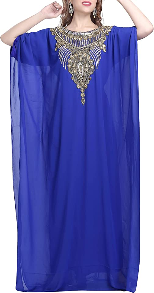 MaximCreation Embroidered Maxi Traditional Kaftan for Women Regular to Plus Size Evening Club Party Dress