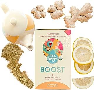 BOOST Tea Sprinkles Energy Tea | Powerhouse Blend of Matcha, Ginger & Lemon | Organic Tea Powders Made with Loose Leaf Tea for Mood, Concentration, Metabolism | 12-Servings Healthy Coffee Alternative