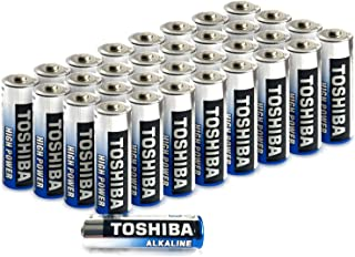 Toshiba AA Alkaline Batteries 40 Pack   High Power   Extra Long Operating Time   LR06 Superior Japanese Quality   Super Value Bulk Pack