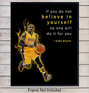 Kobe Bryant Motivational Wall Art for Office - 8x10 inspirational Quote, Wall Decor for Bedroom, Living Room - Gift for Sports, LA Lakers, Basketball Fan, Boys, Kids - Unframed Poster Print