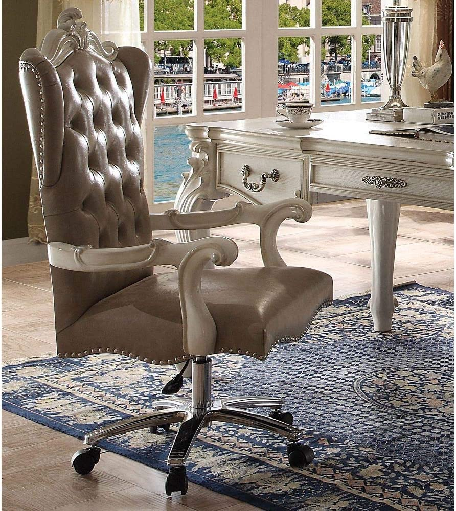 Babody - Popularity Versailles Office Chair in Bone White PU Vintage Outlet ☆ Free Shipping Gray