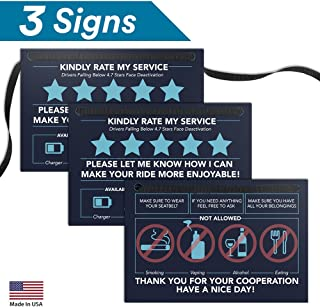 Rating Tip Accessories Driver Sign - (SET OF 3 Signs - NOT Double Sided) - 4