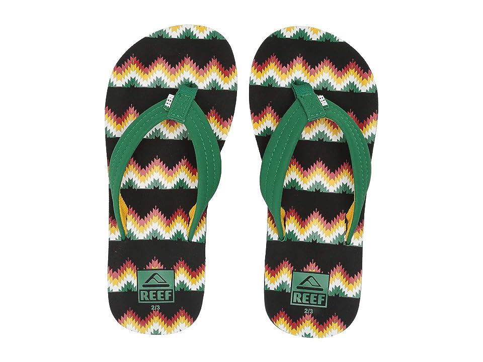 Reef Kids Ahi (Little Kid/Big Kid) (Black/Green Blanket) Boys Shoes