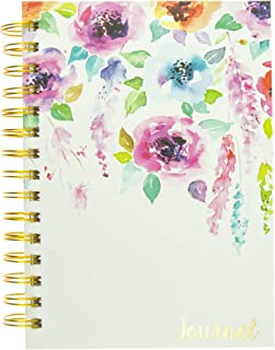 Graphique Hanging Flowers Hard Bound Journal w/Watercolor Flowers on Cover, Beautiful Introspective Journal for Nature Lovers and Gentle Spirits, 160 Ruled Pages, 6.25