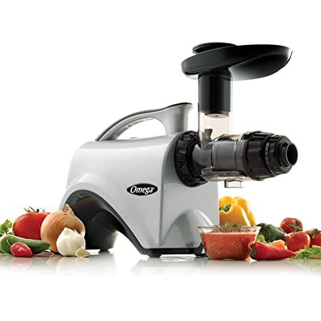 Omega NC800HDS Juicer Extractor and Nutrition System Creates Fruit Vegetable and Wheatgrass Juice Quiet Motor Slow Masticating Dual-Stage Extraction with Adjustable Settings, 150-Watt, Silver