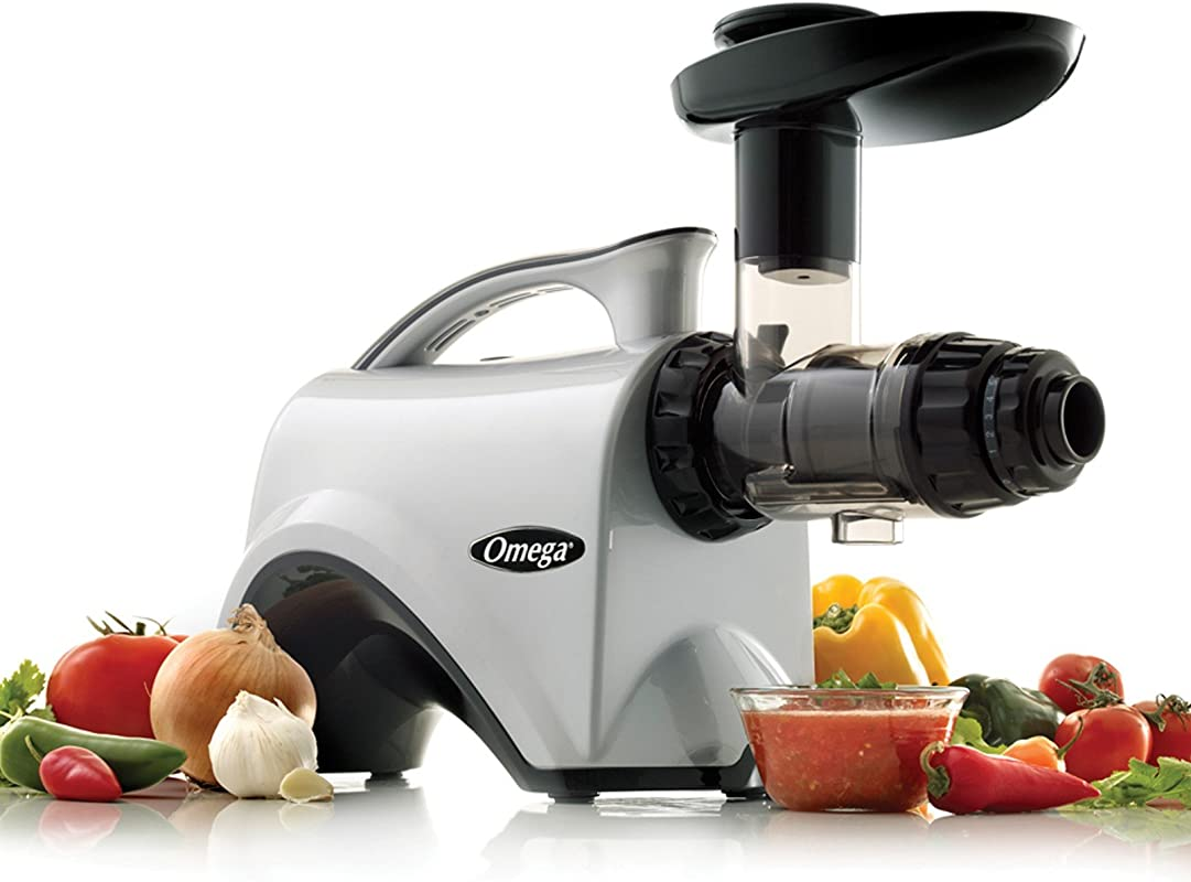 Omega NC800HDS Juice Extractor And Nutrition Center Creates Fruit Vegetable And Wheatgrass Juice Quiet Motor Slow Masticating Dual Stage Extraction With Adjustable Settings 150 Watt Silver