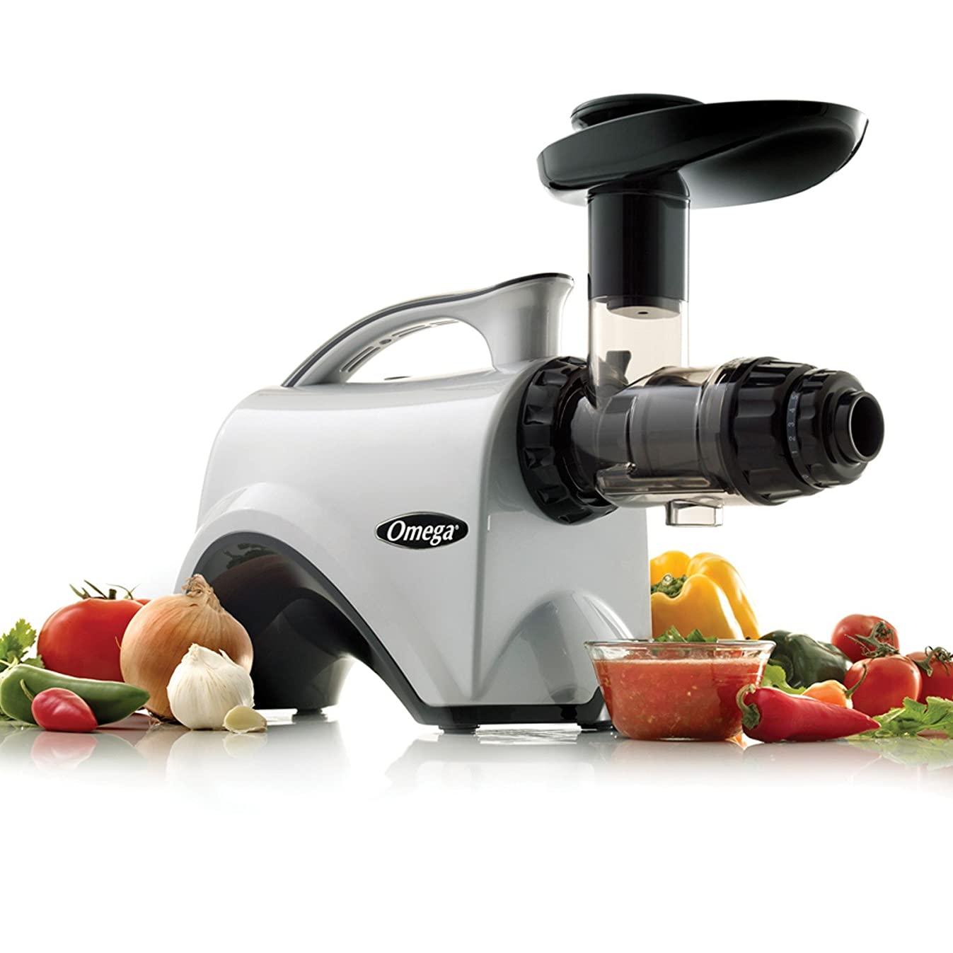 Omega NC800HDS Juice Extractor and Nutrition Center Creates Fruit Vegetable and Wheatgrass Juice Quiet Motor Slow Masticating Dual-Stage Extraction with Adjustable Settings, 150-Watt, Silver